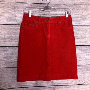 Boden Red Corduroy Skirt Size 8